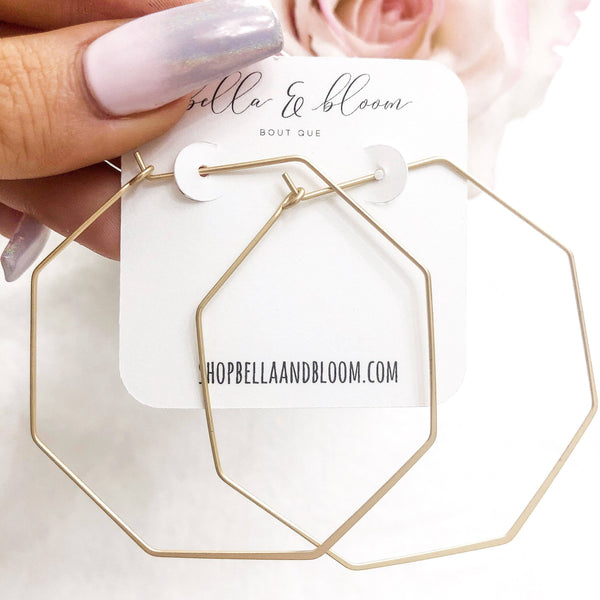 RESTOCK: Thin Octagon Hoop Earrings: Gold - Bella and Bloom Boutique