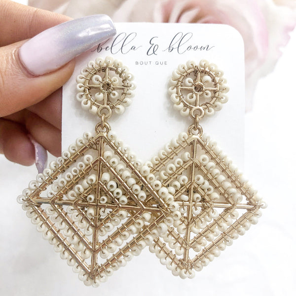 Multi-Diamond Beaded Earrings: Ivory - Bella and Bloom Boutique