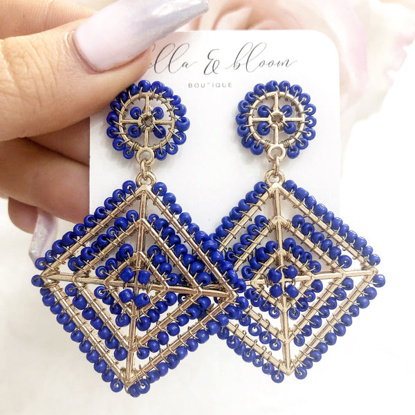 Multi-Diamond Beaded Earrings: Cobalt - Bella and Bloom Boutique