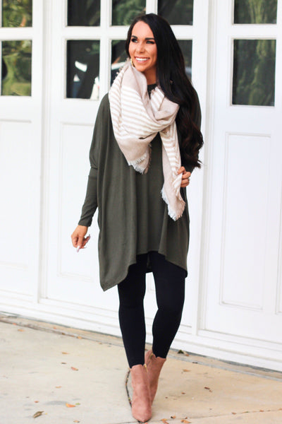 Fall Staple Sweater: Dark Olive - Bella and Bloom Boutique