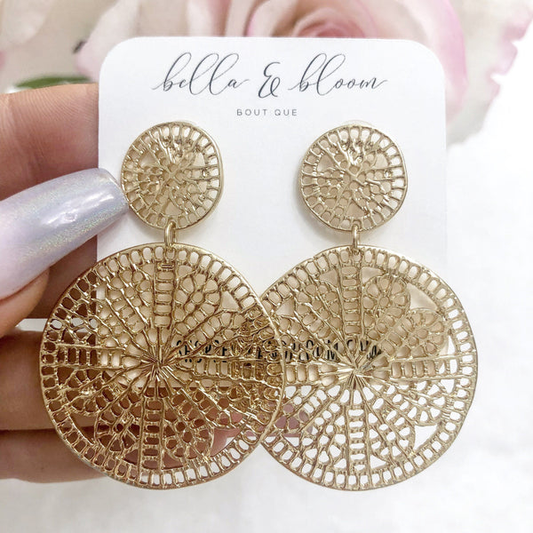 RESTOCK: Intricate Disc Earrings: Gold - Bella and Bloom Boutique