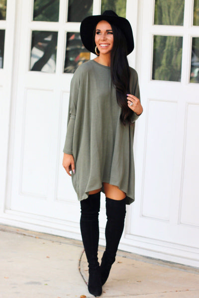 Fall Staple Sweater: Light Olive - Bella and Bloom Boutique