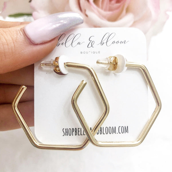 Thick Hexagon Hoop Earrings: Gold - Bella and Bloom Boutique