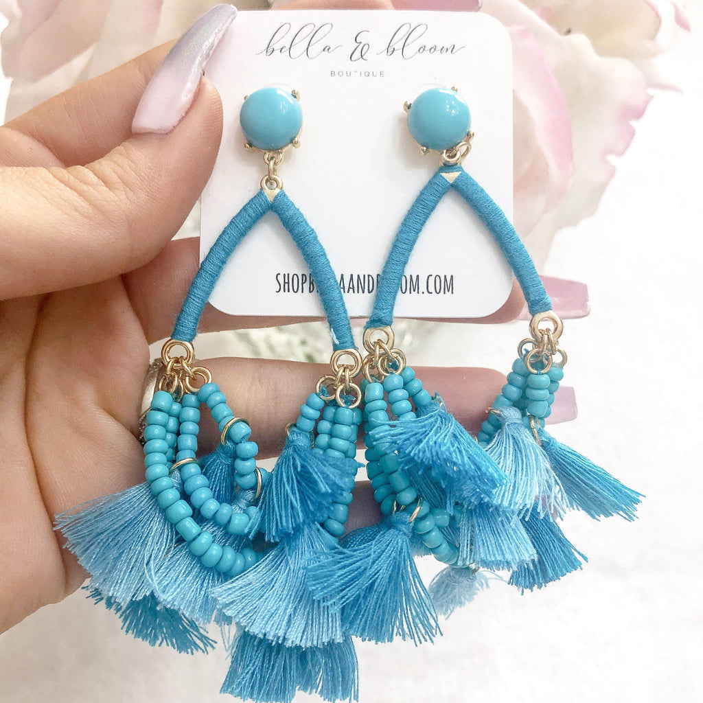 Ocean Kiss Tassel Earrings: Aqua - Bella and Bloom Boutique