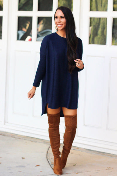 Fall Sweater Tunic Top: Navy - Bella and Bloom Boutique
