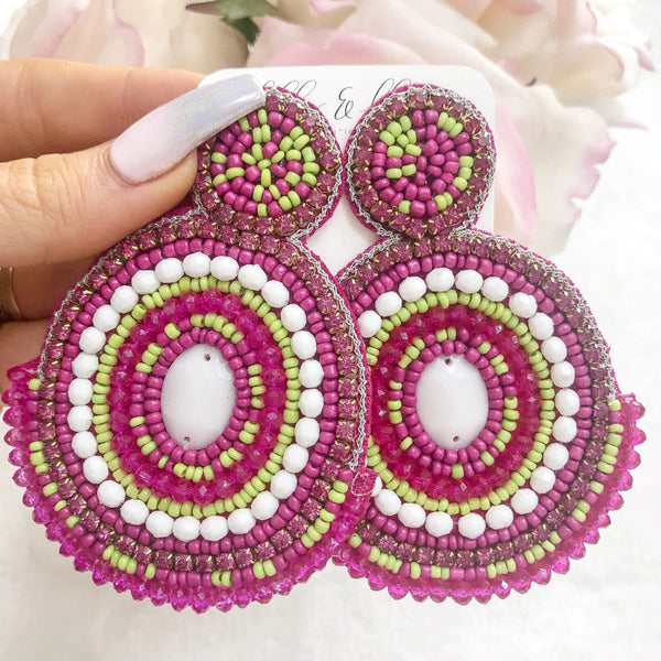 Psychedelic Beaded Earrings: Pink Multi - Bella and Bloom Boutique