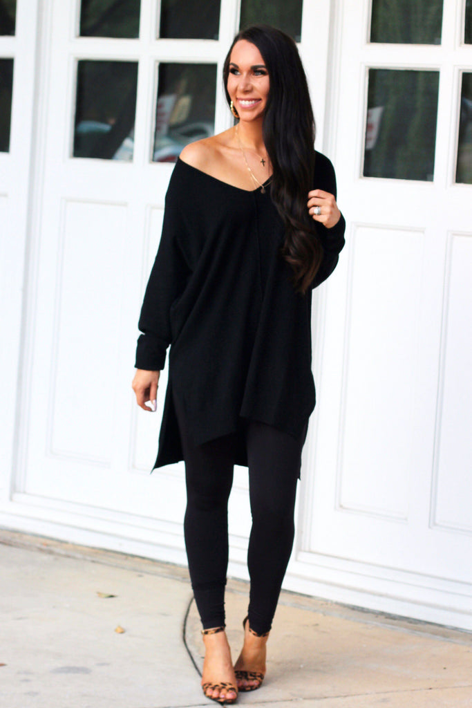 RESTOCK: Closet Essential Sweater: Black - Bella and Bloom Boutique