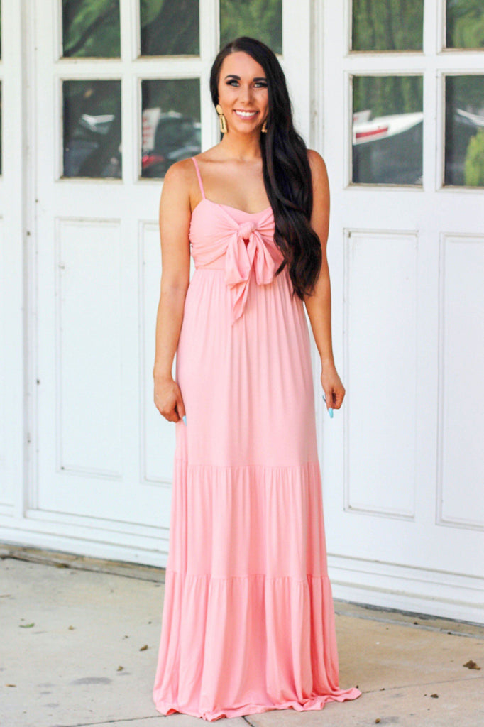 Bow My Way Maxi Dress: Blush - Bella and Bloom Boutique