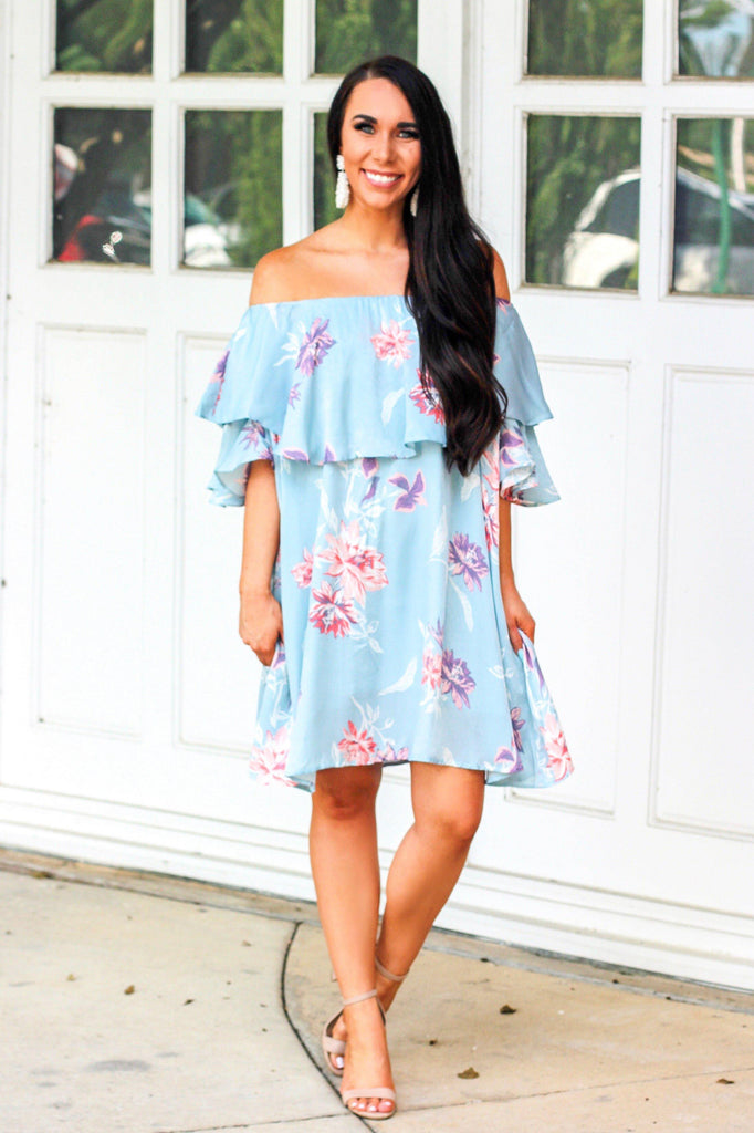 Whimsical Deams Dress: Light Blue - Bella and Bloom Boutique