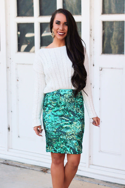Holiday Sparkle Skirt: Green - Bella and Bloom Boutique