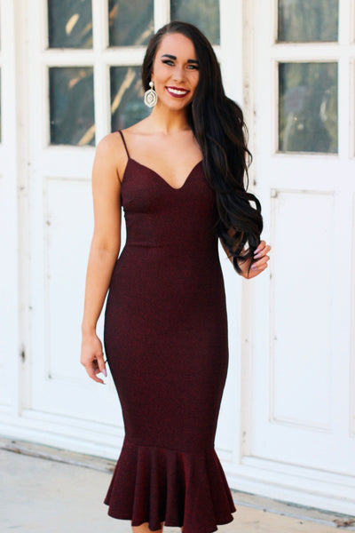 Sparkle and Class Midi Dress: Burgundy - Bella and Bloom Boutique