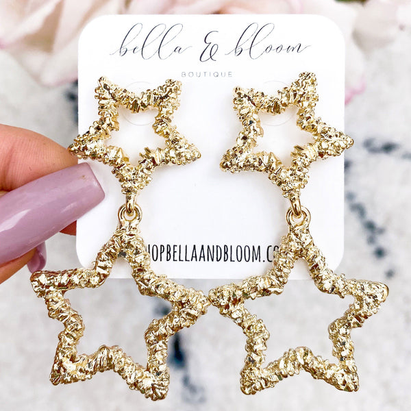 Star Drop Earrings: Gold - Bella and Bloom Boutique