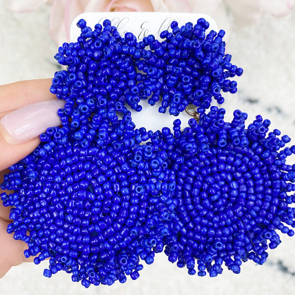 Beaded Disc Earrings: Royal Blue - Bella and Bloom Boutique