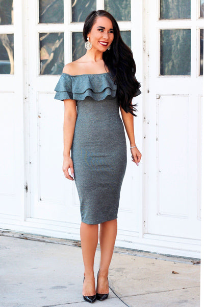 RESTOCK: Midnight Crush Midi Dress: Teal Gunmetal - Bella and Bloom Boutique