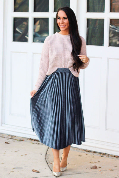 Holiday Crush Velvet Midi Skirt: Slate - Bella and Bloom Boutique