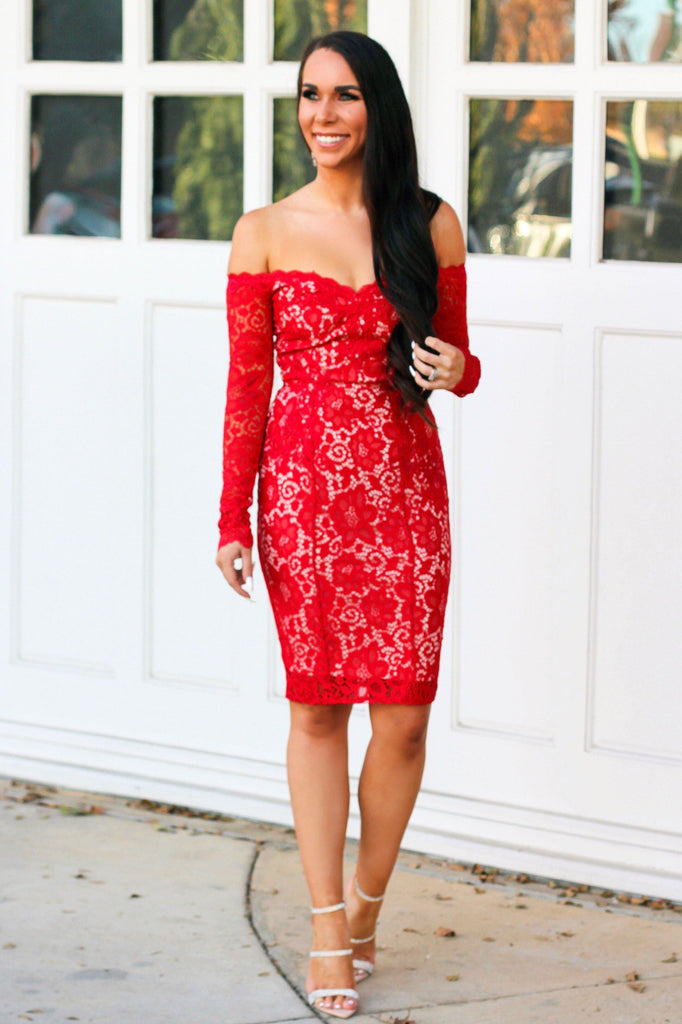 Light Up My World Dress: Red - Bella and Bloom Boutique