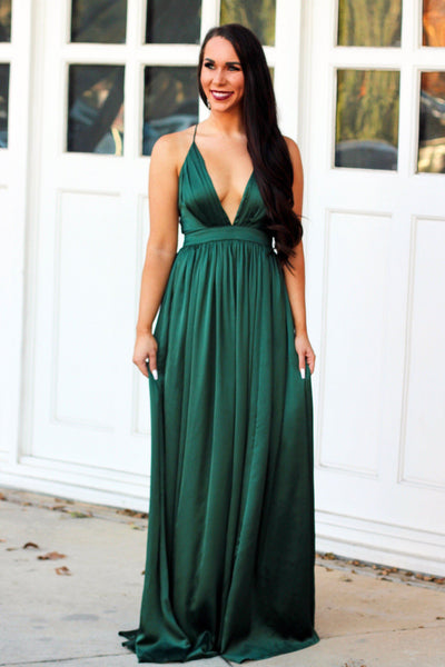 Satin Kiss Maxi Dress: Hunter Green - Bella and Bloom Boutique