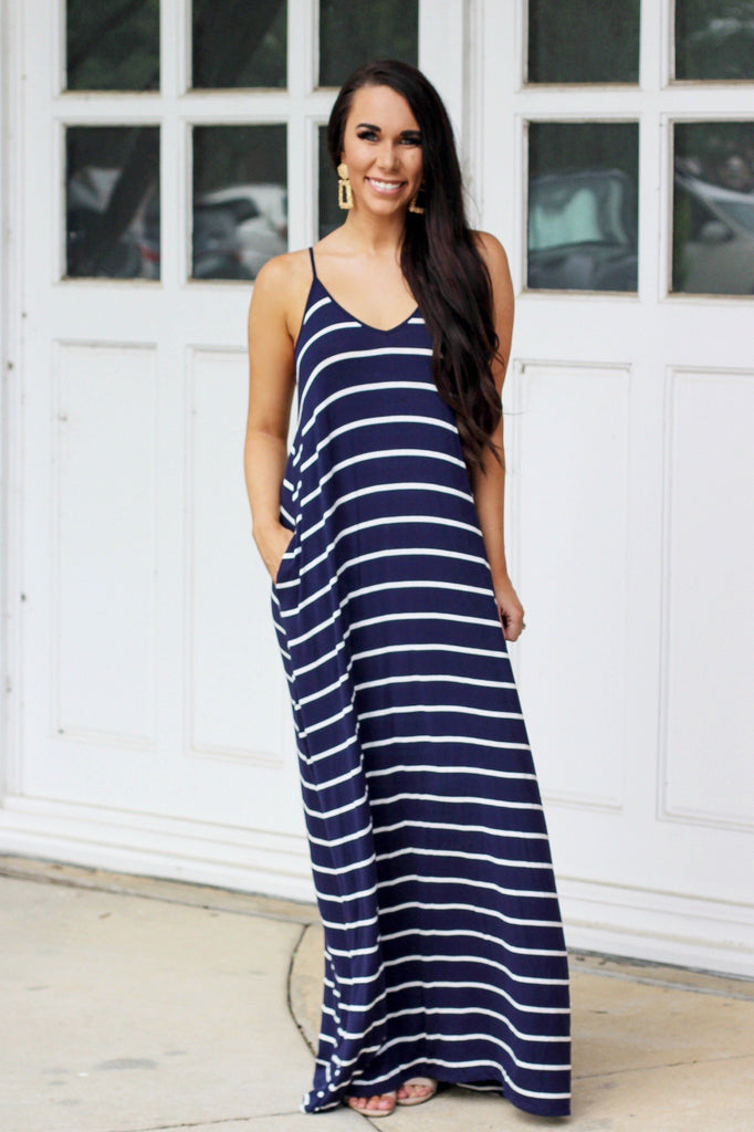 RESTOCK: Just the Girl Next Door Maxi Dress: Navy/White - Bella and Bloom Boutique