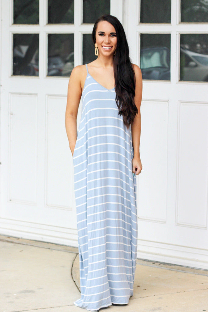 RESTOCK: Just the Girl Next Door Maxi Dress: Light Blue/White - Bella and Bloom Boutique