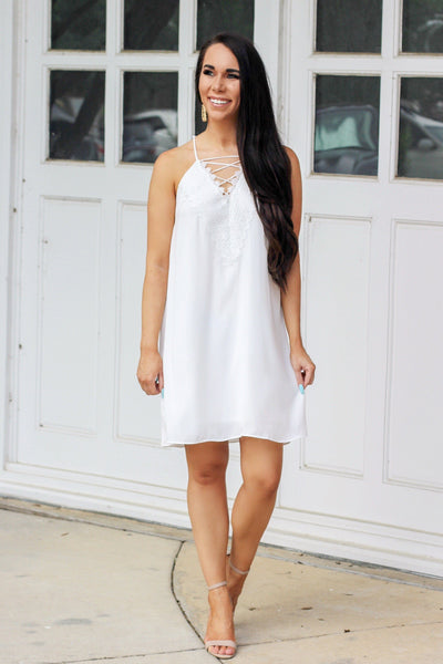RESTOCK: Lace Me Up Dress: White - Bella and Bloom Boutique