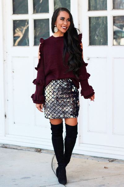 Fall Ruffle Sweater: Wine - Bella and Bloom Boutique