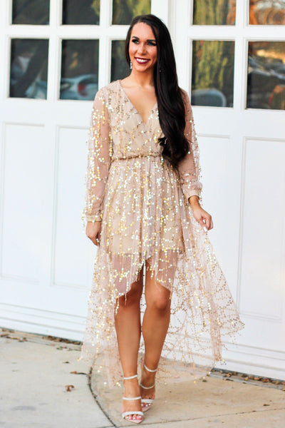 Starlight Maxi Dress: Champagne - Bella and Bloom Boutique