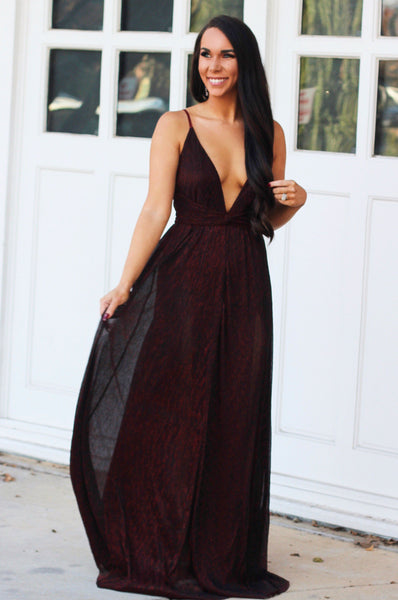 Shimmer in the Night Maxi Dress: Burgundy - Bella and Bloom Boutique