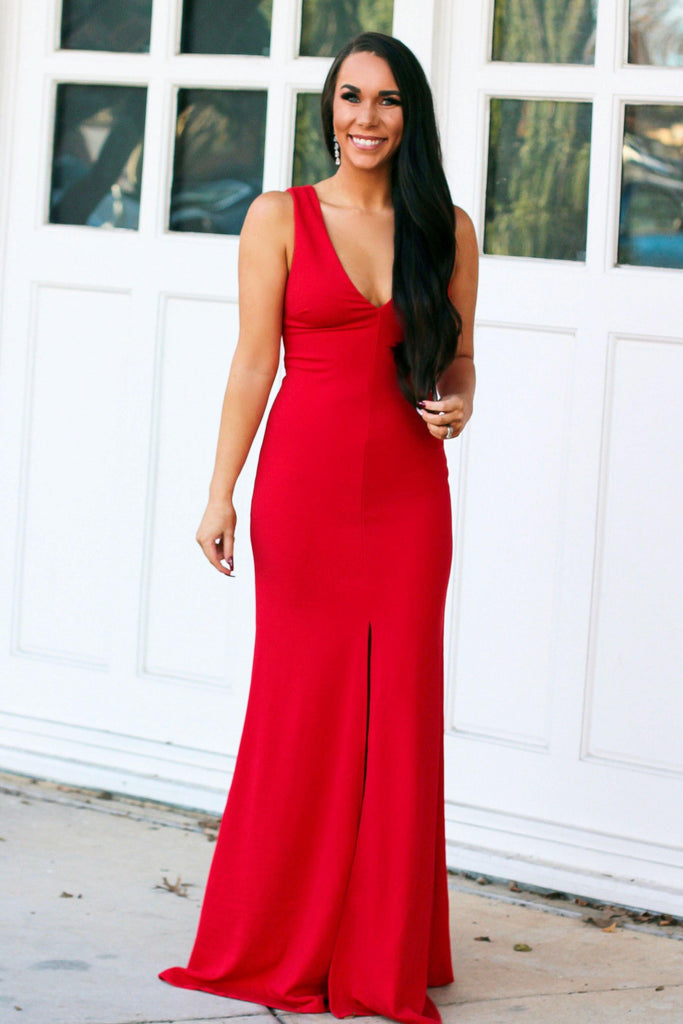 Give You My Best Shot Maxi Dress: Red - Bella and Bloom Boutique
