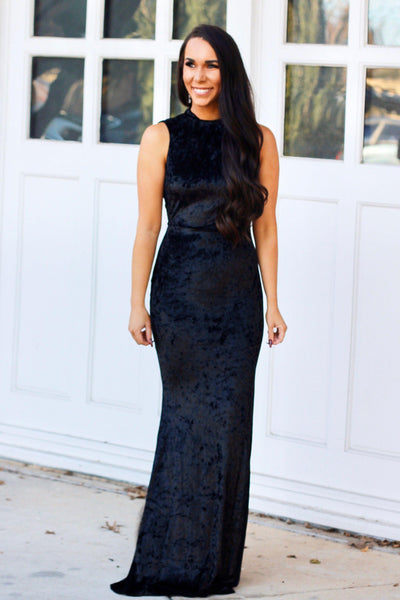 Velvet Nights Maxi Dress: Black - Bella and Bloom Boutique