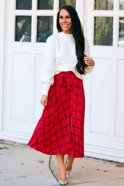 RESTOCK: Christmas Cutie Midi Skirt: Red Multi - Bella and Bloom Boutique