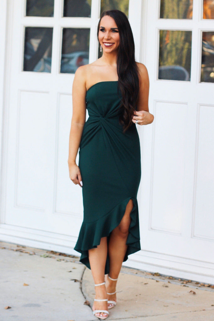 With a Twist Midi Dress: Hunter Green - Bella and Bloom Boutique