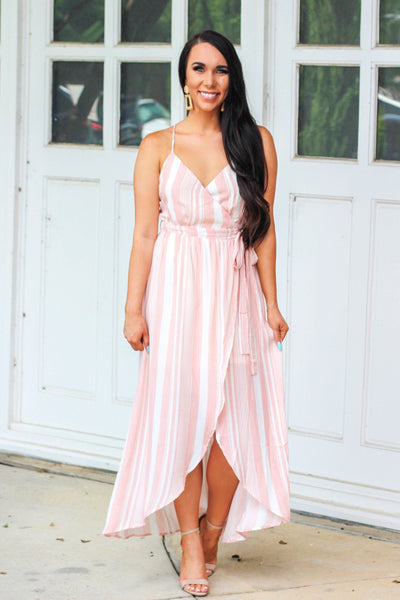 Brunch Babe Midi Dress: Pink/Ivory - Bella and Bloom Boutique