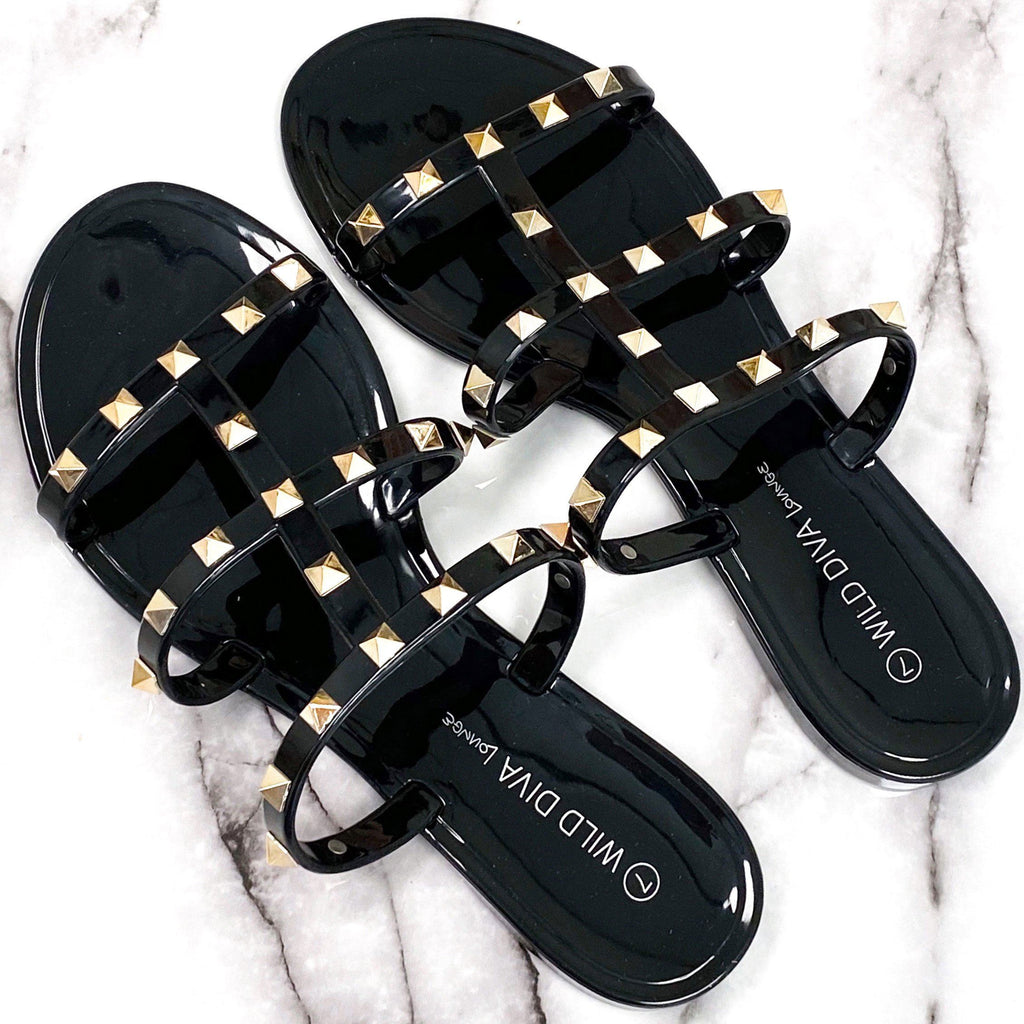 RESTOCK: Savannah Studded Jelly Sandals: Black - Bella and Bloom Boutique