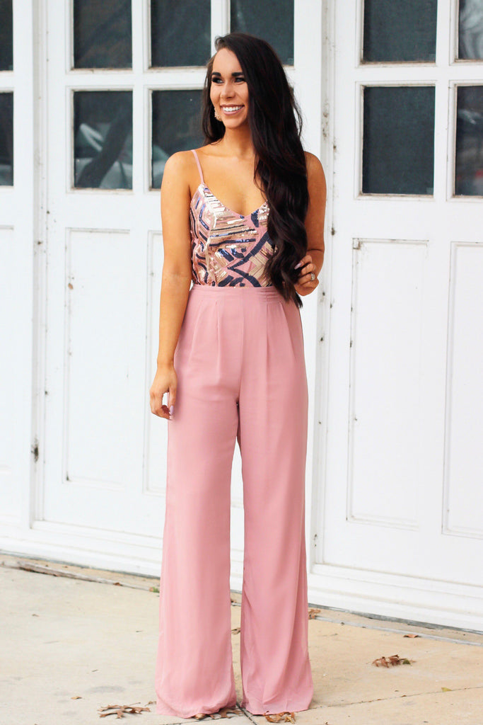 RESTOCK: Winter Blush Sequin Jumpsuit: Blush - Bella and Bloom Boutique