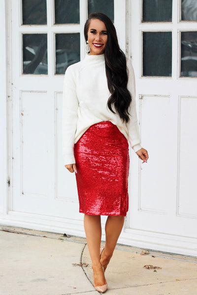 Santa Baby Midi Skirt: Red - Bella and Bloom Boutique