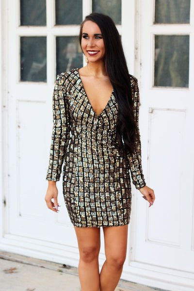 New York Nights Dress: Black/Gold - Bella and Bloom Boutique