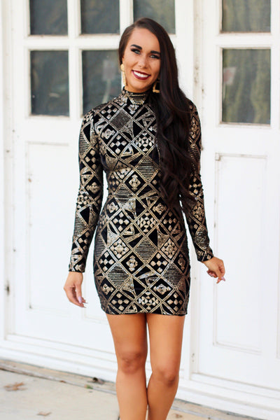 Gatsby Dress: Black/Gold - Bella and Bloom Boutique