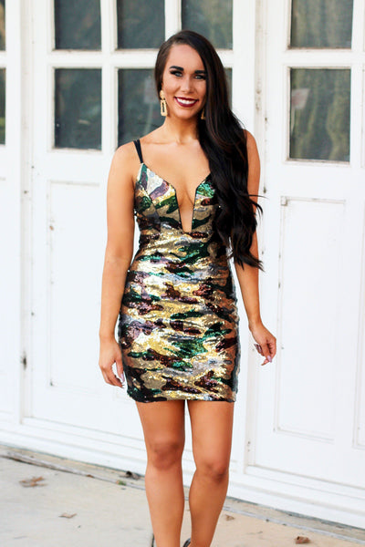 Out of My Element Dress: Camo - Bella and Bloom Boutique