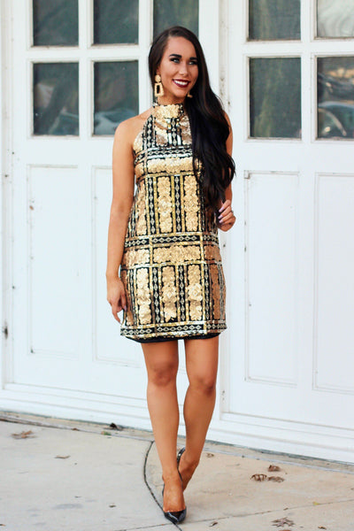 Stardust Dress: Gold/Black - Bella and Bloom Boutique