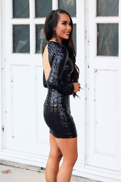 Champagne Nights Dress: Black - Bella and Bloom Boutique