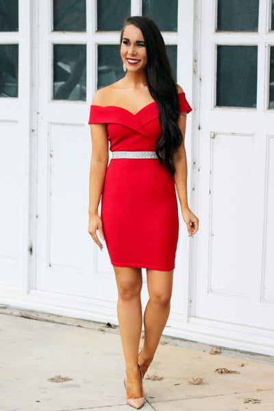 Southern Class Dress: Red - Bella and Bloom Boutique