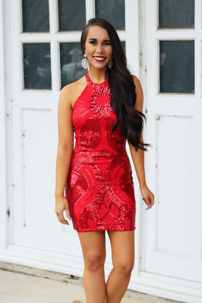 Pop the Bubbly Dress: Red - Bella and Bloom Boutique