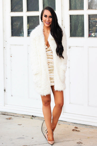 RESTOCK: Faux Fur Coat: Ivory - Bella and Bloom Boutique