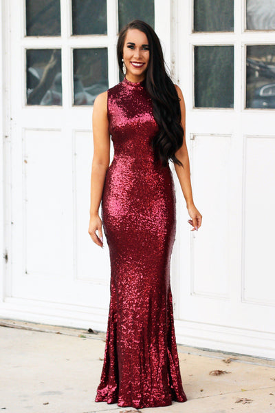 Side Surprise Maxi Dress: Burgundy - Bella and Bloom Boutique