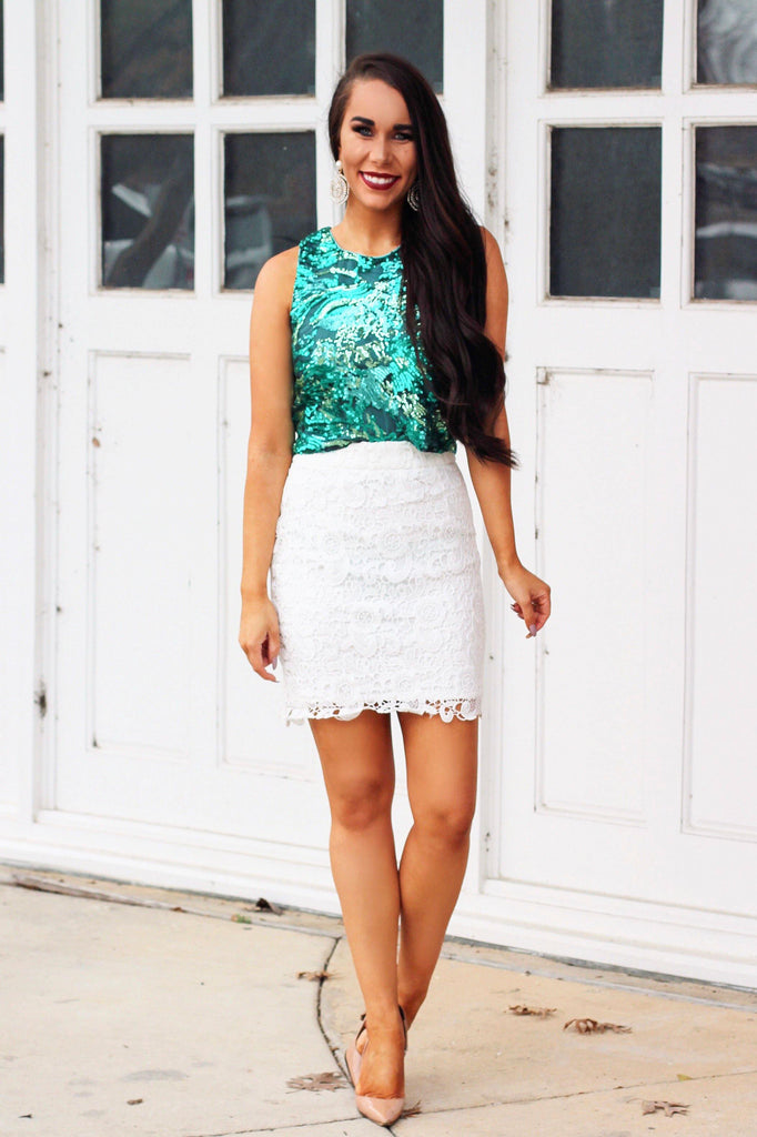 Holiday Sparkle Crop Top: Green - Bella and Bloom Boutique