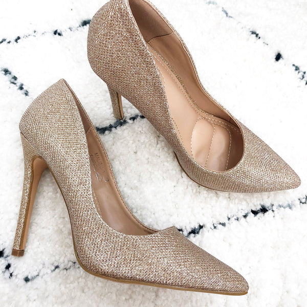 RESTOCK: Shimmer in the Night Heels: Champagne - Bella and Bloom Boutique