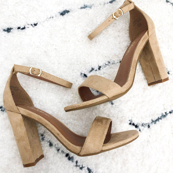 RESTOCK: Erika Block Heels: Taupe Suede - Bella and Bloom Boutique