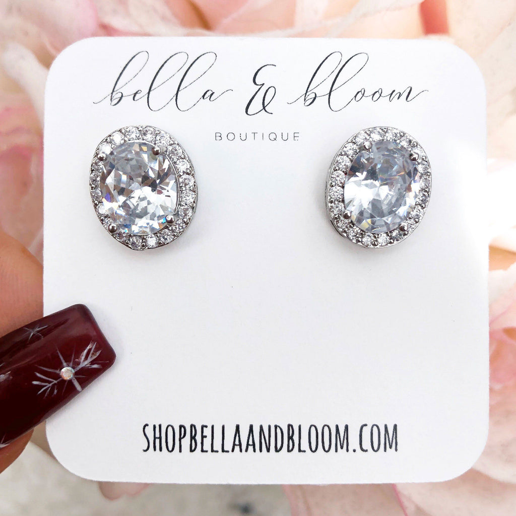 Oversized Oval Stud Earrings: Silver - Bella and Bloom Boutique