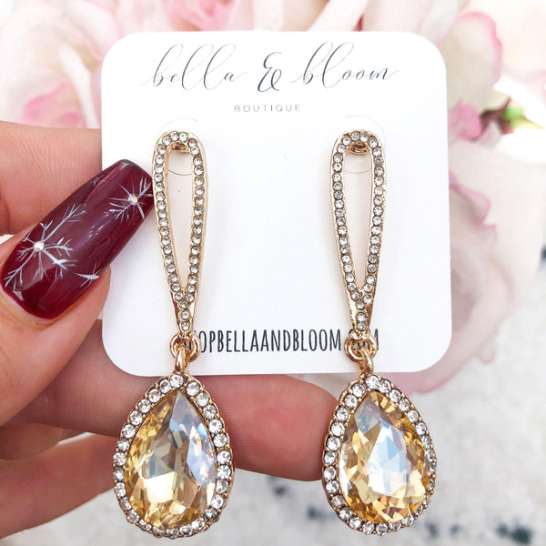 RESTOCK: Kiss the Bride Earrings: Champagne/Gold - Bella and Bloom Boutique