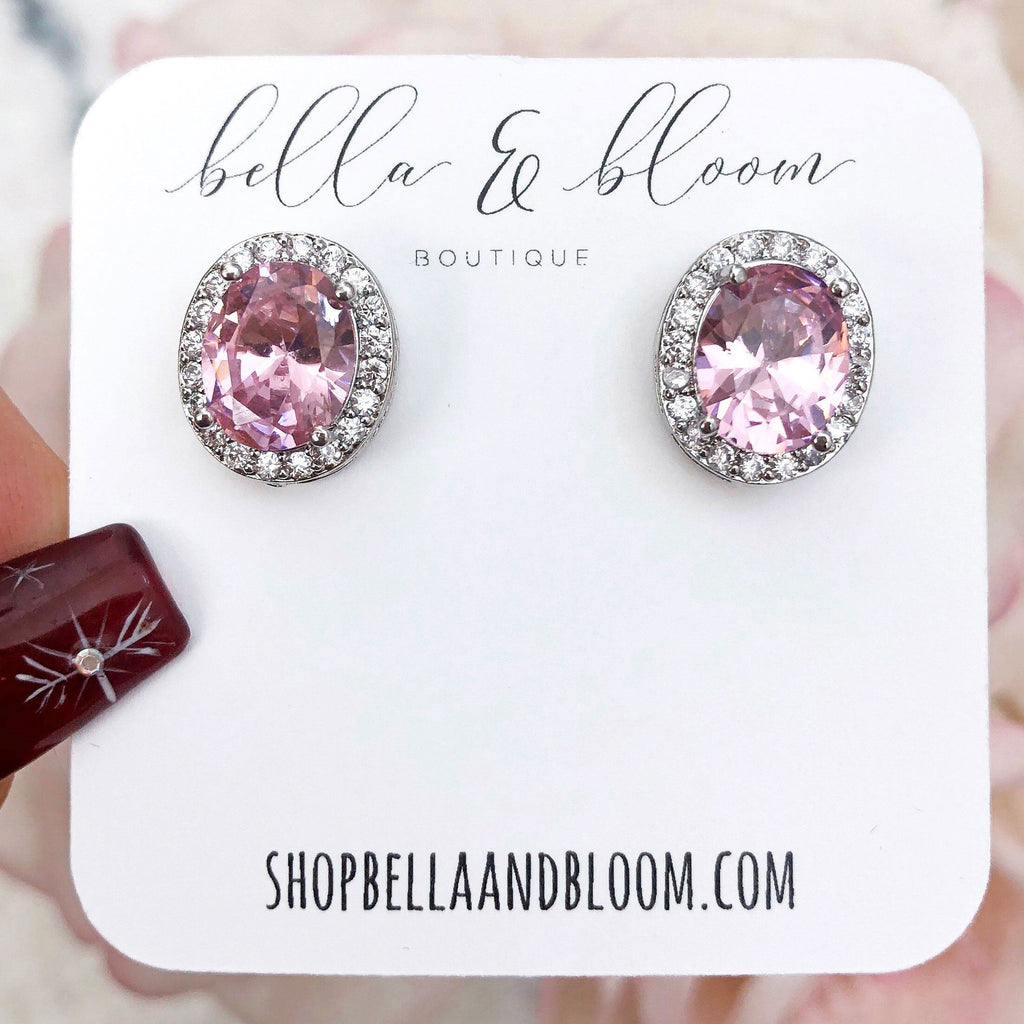 Oversized Oval Stud Earrings: Pink - Bella and Bloom Boutique